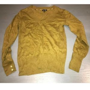 Apt. 9 Olive Green Yellow V Neck Button Sweater M